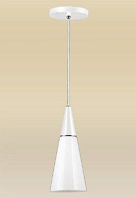Pendente Vertical Cônico Branco Vidro Leitoso Triplex Regulável Ø18cm Cone Madelustre E-27 62086.27 Entradas e Quartos