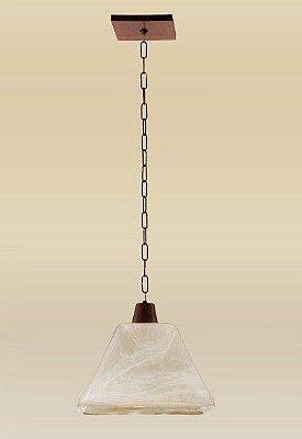 Pendente Rústico Madeira Maciça Âmbar Cúpula Pirâmide Vidro Acetinado 29x24 Madelustre E-27 2103 Entradas e Salas