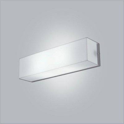 Arandela Interna Retangular Branca Tecido Cristal Luz Frontal 31cm Polar Usina Design E-27 10110/31 Quartos e Salas
