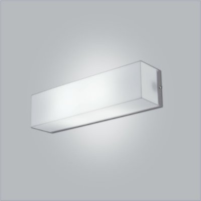 Arandela Interna Retangular Acrílico Leitoso Branco 10x45 Polar Usina Design E-27 10110/45 Corredores e Quartos