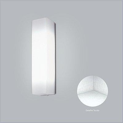 Arandela Interna Retangular Tecido Cristal Branco 15x65 Polar Usina Design E-27 10415/65 Banheiros e Quartos