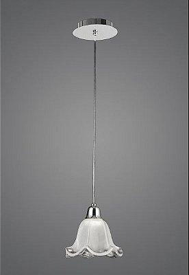 Pendente Vertical Alumínio Cromado Cúpula Vidro Tecla Fosco Ø18cm Madelustre E-27 2512 Cozinhas e Quartos