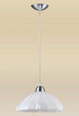 Pendente Alumínio Escovado Cúpula Vidro Alabastro Branco Ø30cm Vesuvio Madelustre E-27 2070 Cozinhas e Salas