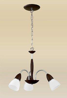 Lustre Rústico Madeira Maciça Tabaco Cúpula Vidro Fosco Tulipa 3 Lâmpadas Ø50x1m Lumi Madelustre E-27 1614 Cozinhas e Salas