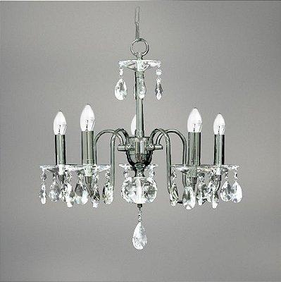 Lustre Till Cristal Candelabro Cromado Vela Luminária Pendente Sala Comercial Quarto Cozinha T147-5