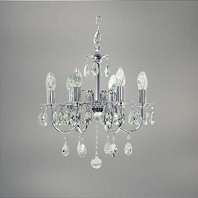 Lustre Tex Cristal Candelabro Cromado Vela Luminária Pendente Sala Comercial Quarto Cozinha T146-6
