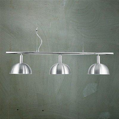 Pendente Bilhar Sinuca Triplo 1/2 Esfera Alumínio Escovado 3 Lâmpadas 29x1,40 Golden Art E-27 T143-3 Entradas e Salas