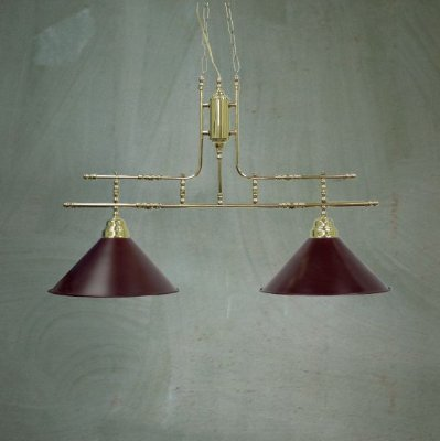Pendente Bilhar Sinuca Duplo Vintage Dourado Cúpula Colorida 2 Lâmpadas 30x80 Golden Art E-27 T140-2 Entradas e Salas