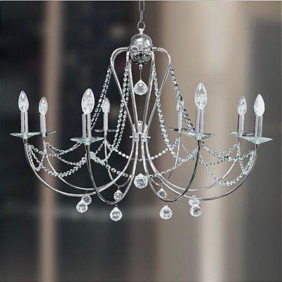 Lustre Gally Cristal Candelabro Cromado Vela Luminária Pendente Sala Comercial Quarto Cozinha T149-8
