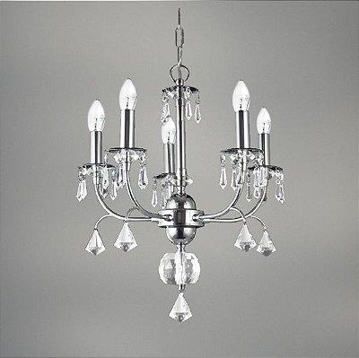 Lustre Joss Cristal Candelabro Cromado Vela Luminária Pendente Sala Comercial Quarto Cozinha T148-5