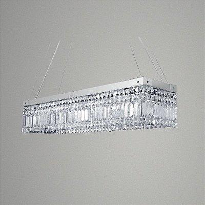 Pendente Retangular Aço Escovado Cristal Asfour Lapidado Transparente 80x20 Golden Art G9 T286 Entradas e Salas