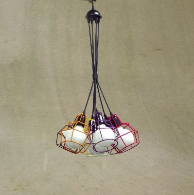 Lustre Aramado Colorido Cacho Decorativo Ø40cmx1m Pucon Golden Art E-27 T203-7 Salas e Hall