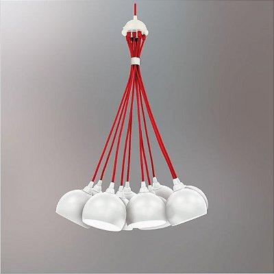 Lustre Design Moderno Cacho Colorido Branco e Vermelho 10 Lâmpadas  Ø50x1m Golden Art G9 T202-10 Cozinhas e Salas