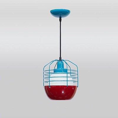 Pendente Aramado Colorido Azul Vermelho Cúpula Vidro Leitoso 20x23 Spin Golden Art E-27 T243 Cozinhas e Quartos