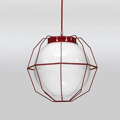 Pendente Aramado Colorido Vermelho Cúpula Vidro Leitoso 35x35 Aramis Golden Art E-27 T242-1 Cozinhas e Quartos