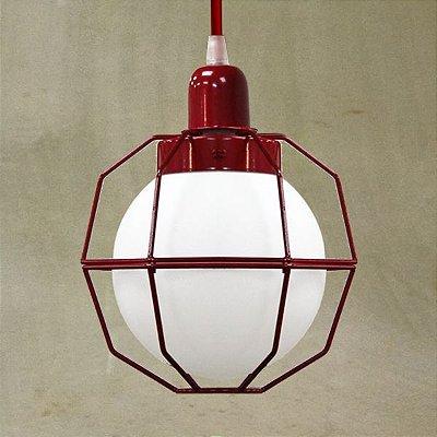 Pendente Aramado Colorido Vermelho Cúpula Vidro Leitoso 20x28 Aramis Golden Art E-27 T241-1 Salas e Hall