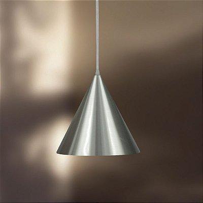 Pendente Cônico Alumínio Escovado Fosco Decorativo Ø20 Golden Art E-27 T210 Quartos e Salas