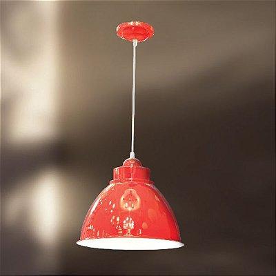 Pendente Alumínio Colorido Vermelho Decorativo Cabo Regulável Ø32 Galpão Golden Art E-27 T209 Salas e Hall