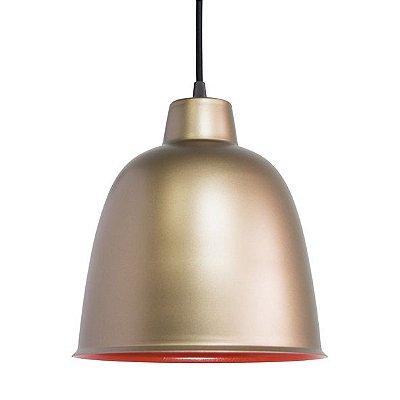Pendente Alumínio Dourado Fosco Redondo Decorativo 24x28 Termo Golden Art E-27 T290 Cozinhas e Entradas