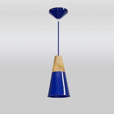 Mini Pendente Madeira Maciça Alumínio Colorido Azul Ø14x26 Foss Golden Art E-27 T926 Cozinhas e Quartos