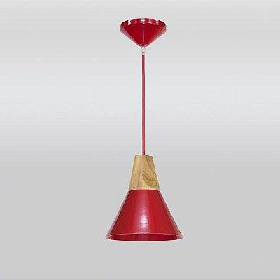 Mini Pendente Madeira Alumínio Colorido Vermelho Ø20x23 Twist Golden Art E-27 T925 Quartos e Salas