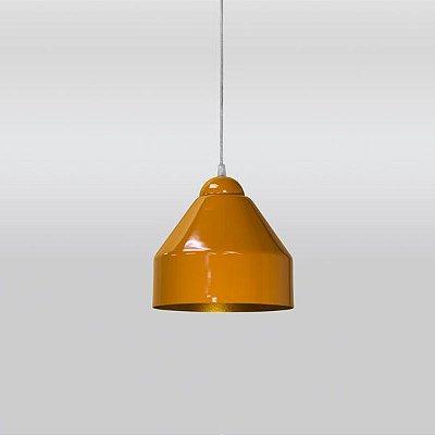 Pendente Alumínio Colorido Cônico Laranja Decorativo 22x23 Brent Golden Art E-27 T890 Quartos e Salas
