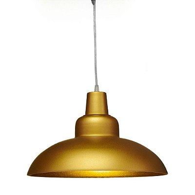 Pendente Redondo Alumínio Dourado Decorativo Cabo Regulável 36x26 Romi Golden Art E-27 T765 Entradas e Salas