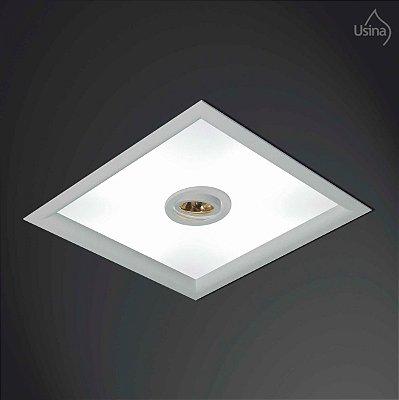 Plafon Embutido Quadrado Branco Bivolt 32x32 Orion Usina Design E-27 Par 20 3501/32 Banheiros e Cozinhas