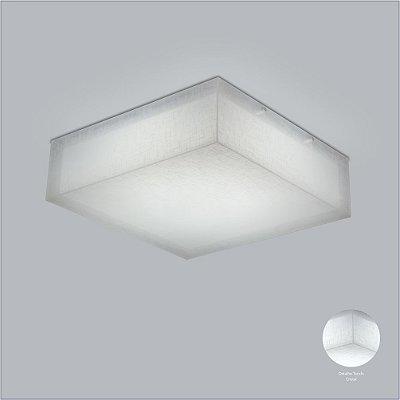 Plafon Quadrado Sobrepor Acrílico Leitoso Tecido 58x58 Cotton Usina Design E-27 10700/58 Corredores e Quartos