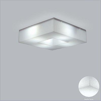 Plafon Quadrado Acrílico Leitoso Tecido Cristal 45x45 Geo Usina Design E-27 10600/45 Cozinhas e Salas