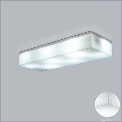 Plafon Retangular Acrílico Leitoso Branco Tecido Cristal 17x29 Polar Usina Desing 10417/29 Quartos e Salas