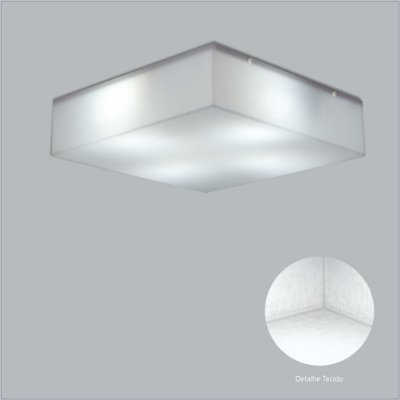 Plafon Quadrado Branco Tecido Cristal Sobrepor 55x55 Polar Usina Design E-27 10400/55 Banheiros e Cozinhas