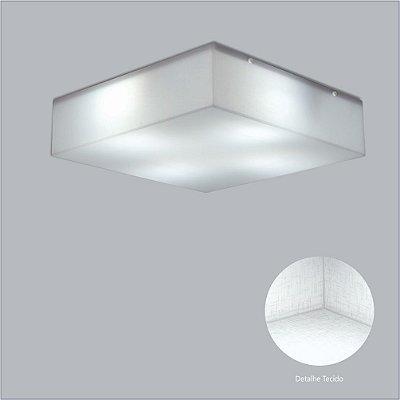 Plafon Quadrado Branco Tecido Cristal Sobrepor 39x39 Polar Usina Design E-27 10400/39 Banheiros e Cozinhas