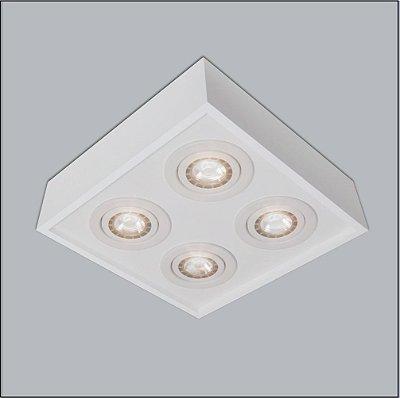 Plafon Sobrepor Quadrado Alumínio Branco 25x25 Premium Usina Design Par20 4501/25 Salas e Quartos