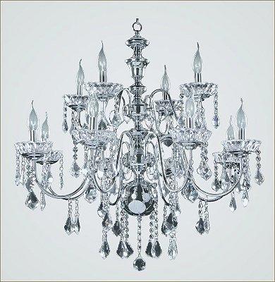 Lustre Maria Teresa Candelabro CONSTANTINO Cristal Transparentes Metal Cromado 12 Braços Vela  2512CR Tupiara Imponente