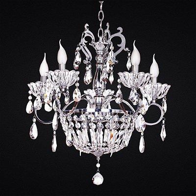 Lustre Candelabro e Imperial Cristal Transparente 5 Braços Metal Cromado Ø60 Salas e Hall 4305cr Tupiara