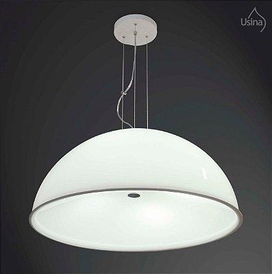 Pendente 1/2 Esfera Cromo Branco Cabo Regulável Decorativo Ø59 Usina Design E-27 10030/4 M Cozinhas e Salas