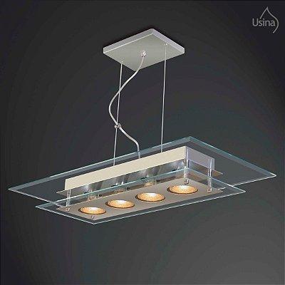 Pendente Retangular Vidro Bisotê Transparente Regulável 4 Lâmpadas 30x60 New Beta Usina Design E-27 230/4 Entradas e Hall