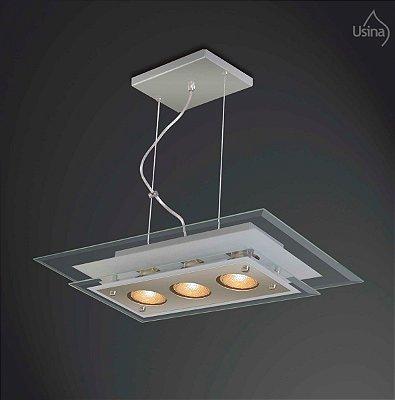 Pendente Retangular Vidro Bisotê Transparente 4mm 3 Lâmpadas 30x50 New Beta Usina Design E-27 229/3 Cozinhas e Salas