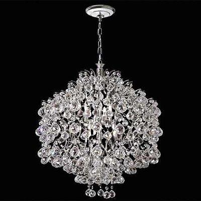 Lustre Redondo Colmeia Cromado Cristal Translúcido Asfour 8 Lâmpadas Ø56 Mr Iluminação E-14 2397-56-Is Salas e Hall