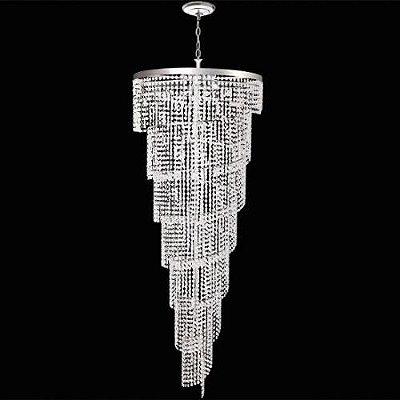 Lustre Redondo Inox Cromado Espiral Cristal Asfour Transparente Ø40x1m Mr Iluminação G9 2406-7-ls1mt Salas e Hall