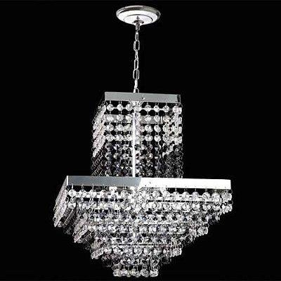 Lustre Quadrado Chuva de Cristal Translúcido 5 Lâmpadas 32x32 Sonata Mr Iluminação G9 2411-pt-5 Cozinhas e Salas