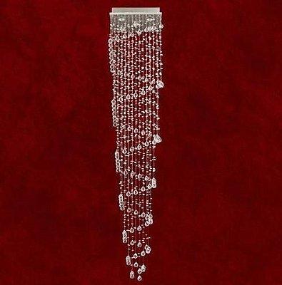 Lustre Quadrado Milano Escada Cristal Asfour Transparente 5 Lâmpadas 33x33 Trieste Mr Iluminação Gu10 2281-5 Entradas e Salas