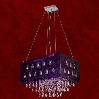 Pendente Retangular Box Acrílico Roxo Cristal Amêndoa 9 Lâmpadas 30x45 Veneza Mr Iluminação G9 2262-a-pd Entradas e Salas