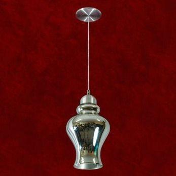 Pendente Redondo Alumínio Cromado Espelhado 32cm Pallas Mr Iluminação E-27 2270-1-esp Entradas e Quartos