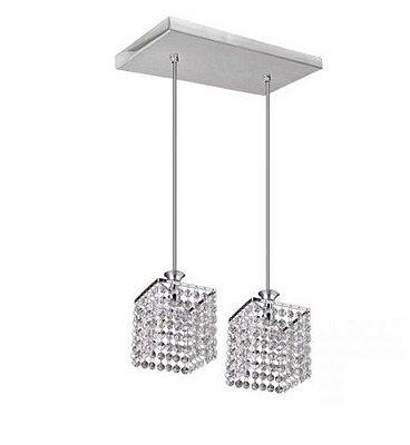 Pendente Cromado Cubo Cristal Asfour 2 Lâmpadas 21x21 Kira Mr Iluminação Led 2418-2p Cozinhas e Salas