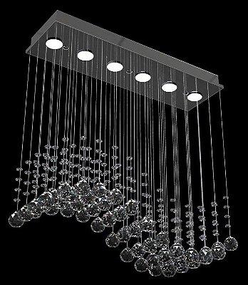 Lustre Alumínio Espelhado Onda Globo Cristal Transparente 62x19 New Design Gu10 304/62 Entradas e Hall