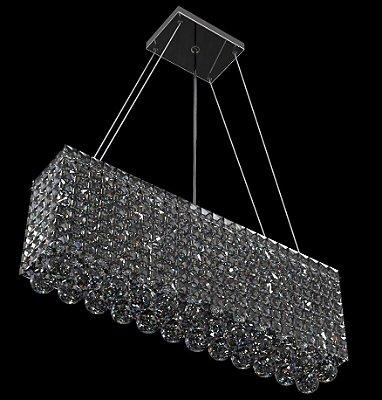 Pendente Retangular Espelhado Cristal Translúcido 4 Lâmpadas 60x12 New Design G9 930/60q Salas e Hall