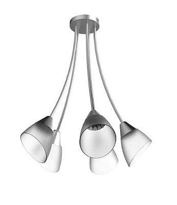 Lustre Arcos Tulipa Alumínio Escovado 5 Braços Cúpula Vidro Ø60x44 New Design E-27 130/5 Entradas e Salas