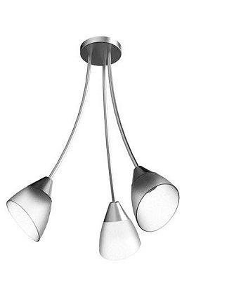 Lustre Arcos Tulipa Alumínio Escovado 3 Braços Cúpula Vidro Ø60x44 New Design E-27 130/3 Salas e Hall